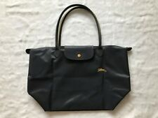 Auth Longchamp Le Pliage Club Collection Horse Embroidery Large Tote Gun Metal