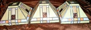 Set of 3 - Art Deco Style Leaded Stained Glass Lamp Shades