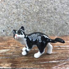 Ceramic Tuxedo Cat Black and White Figurine Cat Ceramic Collection Cat Pottery