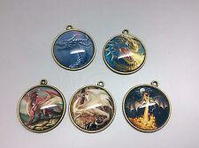 5 x Fantasy Dragon Myth Legend Pendants Bronze 25mm Make your own jewellery