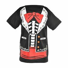 Kids Boys Day of the Dead Senor Skeleton T-Shirt Halloween Fancy Dress Costume