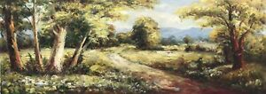 Country Road,Original Oil Painting by R. Cook, 92 X 33 cm