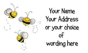 42 X Personalised Address Labels Stickers - Busy Bee Trio  - Address, crafts