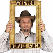 Western Wanted Reward Poster Photo Frame Cowboy Cowgirl Wild West Party Prop