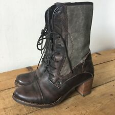 FEUD UK SIZE 6 WOMENS LUCIE BROWN LEATHER TEXTILE MILITARY BOOTS