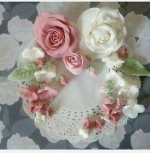 Zuckerrosen ca9-10 cm groß + Zuckerblumen Hochzeit, Taufe,Geburtstag