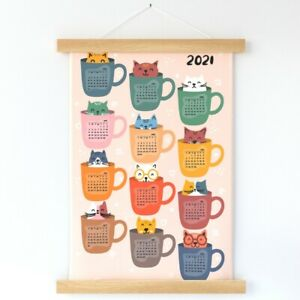 Cat Kitten Coffee Tea Cup Adorable Wall Hanging Print and Hanger by Spoonflower