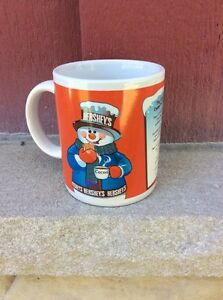VINTAGE NOS COFFEE MUG #021- Hershey's Snowman Cocoa Red