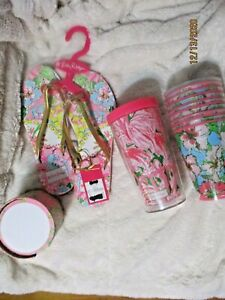 Lot Of 11Lilly Pulitzer: 8 Drink Glasses, note pack, Flip Flops size 7