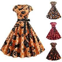 Women's Halloween Swing Dress Ladies Slim Pumpkin Print Party Tunic Fancy Costum