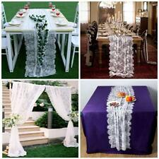 70X300cm White Lace Table Runner with Ribbon Wedding Bouquet Venue Decoration