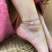Trendy Anklet Pink Butterfly Multilayer Ankle Bracelet Summer Beach Jewelry Gift