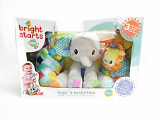 BRIGHT STARTS TAGGIES ELEPHANT BLANKETS TEETHER TAGS RATTLE PLUSH NEW