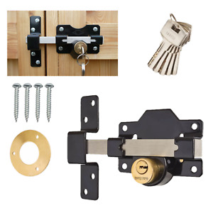 Gate Lock Garage SECURITY Double Long Throw Bolt 4 Types Rim Lock 50mm & 70mm