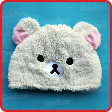 CUTE WHITE POLAR BEAR WITH EARS ANIMAL CARTOON PLUSH FLUFFY BEANIE HAT CAP
