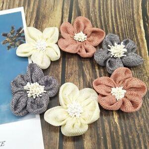 7cm Natural Jute Burlap Linen Flower DIY Wedding Clothing Home Tent Decor Crafts