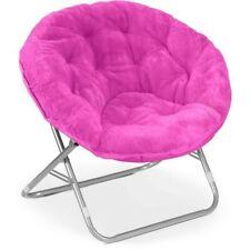Pink Faux Fur Saucer Papasan Folding Chair Home Dorm Living Furniture Seating