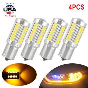 4x BAU15S PY21W lED Canbus No Error 33SMD 5730 1156 Led Turn Signal Light Amber.