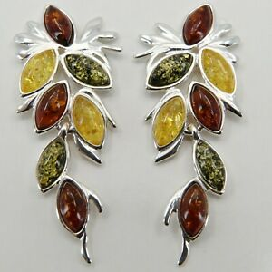 Natural Genuine Multi-Color BALTIC AMBER Earrings 925 STERLING SILVER #1228