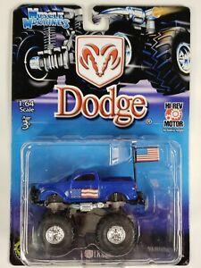 Muscle Machines Dodge Truck Blue Scale 1:64 Motorized 4 Wheel Suspension 2001