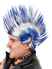 1970s 1980s Punk Rocker Mohican Blue White Spikey Wig Fancy Dress Accessory New