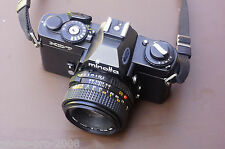 scarce BLACK BODIED MINOLTA XD-7 35MM FILM CAMERA WITH MD 50MM LENS