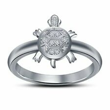 ure Silver American Diamond Tortoise Ring for Women and Men