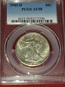 1943-D Walking Liberty Half Dollar PCGS AU 58