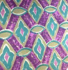 """Churchill Men's Silk Tie 56"""" X 3.75"""" Purples & Greens Geometric"""