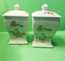 Vorratsgefäße 2 Küche antik Keramik Gerste Reis Blumendekor alt gebraucht
