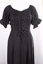 Holy Clothing Handmade Embroidered Black Medieval Gypsy Boho Dress Size S Small