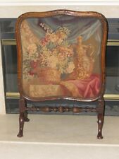 Antique Fireplace Screen Needlepoint Tapestry Panel w/ Walnut Frame Circa 1850