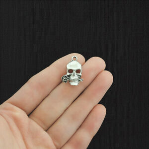 15 Skull Rose Antique Silver Tone Charms - SC2761