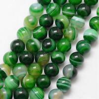 Natürliche Streifen Achat Perlen Rund Indische Grün 8mm Edelsteine BEST G725