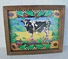"Vintage Cow Picture Wall Clock Rustic Wood  Frame Quartz Movement 9"" x 11"""