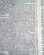 American Revolutionary War Original Enemy Edinburgh Scotland 1782 Old Newspaper