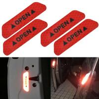 Red 4PCS Super Car Door Open Sticker Reflective Tape Safety Warning Decal JA
