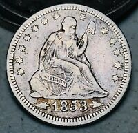 1853 Seated Liberty Quarter 25C RAYS & ARROWS Ungraded 90% Silver US Coin CC7012