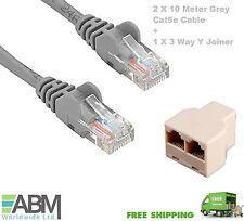 2 x 10M CAT5e Ethernet Network RJ45 Internet LAN Cable + 1 x 3 Way Y Splitter