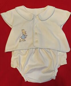 VTG? BEATRIX POTTER Peter Rabbit Christening Romper NEWBORN baby white 1 pc
