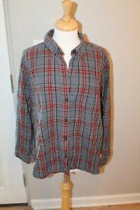 Women's LL Bean Gray Plaid Flannel Blouse, Size 1X