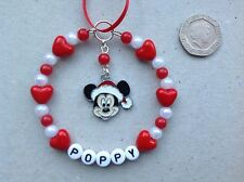 Personalised Name Mickey Mouse inspired charm Handmade Christmas Tree Decoration