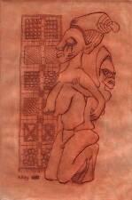 AFRICAN TRIBAL FERTILITY FIGURE Aquatint Etching ALEX KING 1973