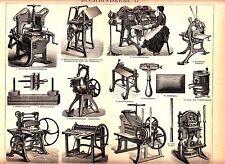 ca1890 OLD BOOK BINDING MACHINE Antique Lithograph Print