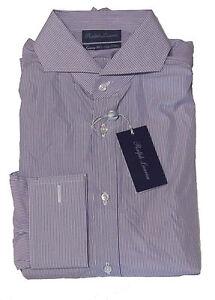 $695 Ralph Lauren Purple Label Luxury 200's Keaton Purple Stripe Dress Shirt 16