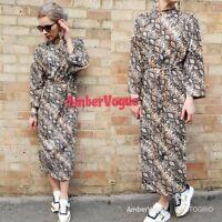 Zara  Print Dress Long Sleeve Midi Belt  SIZE S UK 8 10