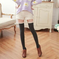 Women Soft Lace&Cotton Thigh High Stockings Knit Over the Knee Girls Long Socks#