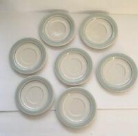 Vintage Set Of 7 Genuine Stoneware Japan Blue And White Saucers