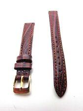 12mm Havana Brown Padded Tuju Lizard Grain Genuine Leather Watch Band Strap