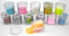 12 POTS MYLAR STRIP NAIL ART CRAFT NAILS 10g EACH PINK GREEN GOLD RED BLUE